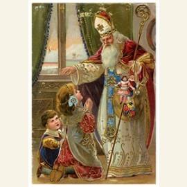 Sinterklaas geeft cadeaus aan de kinderen
