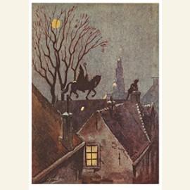 Sinterklaas rijdt op het dak met zijn paard