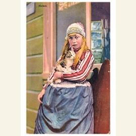 Meisje met een kat in haar arm (Marken)