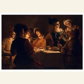 Vrolijk gezelschap met een luitspeler, 1619-1620