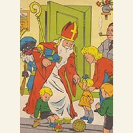 Sinterklaas en zwarte piet komen binnen met cadeaus