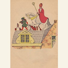 Sinterklaas en zwarte piet lopen over het dak