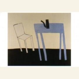 Witte stoel blauwe