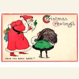 Kerstman vraagt aan een kind of ze zich goed heeft gedragen