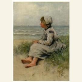 Meisje uitkijkend zee