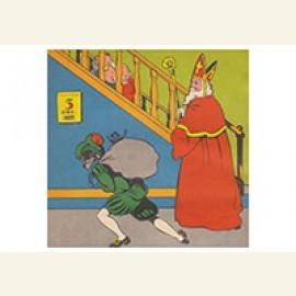 Sinterklaas en zwarte piet staan voor de trap