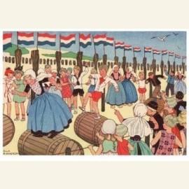 Mensen van Zouteland dansen van vreugde op een straat