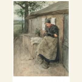 Voor haar huisje (Bij de boerenwoning), 1884