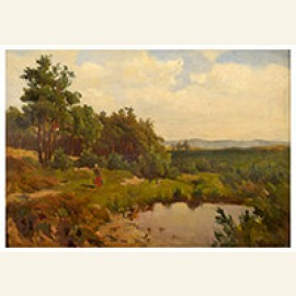 Summer landscape with water carrier