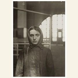 Russisch Joods meisje op Ellis Island