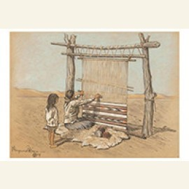 Navajo Women Weaving With Child