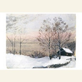 Winter Landscape With House And Red Sky