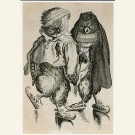 Twee uilen op schaats
