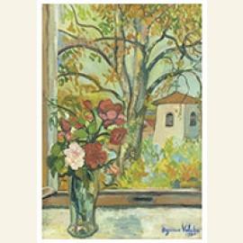 Bouquet De Fleurs Devant Une Fenêtre À Saint-Bernard