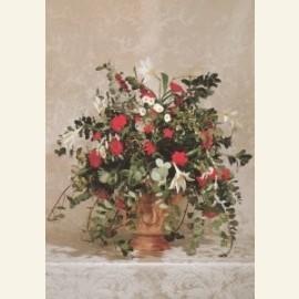 Rood-wit kerstbloemstuk in terracotta tuinvaas