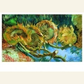 Stilleven met vier zonnebloemen