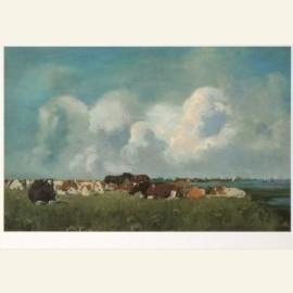 Liggend vee en noppende paarden aan de IJssel