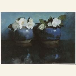Witte Azalea's in blauwe gemberpotjes