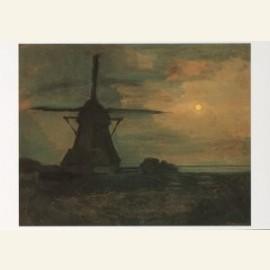 Mondriaan/Molen bij maanlicht