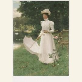 Koningin Wilhelmina in de tuin van Paleis Soestdij