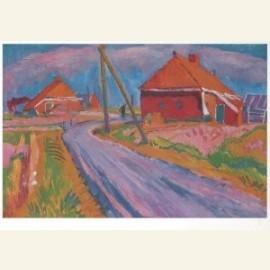 Landweg met boerderijen