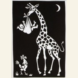 Giraffe met kind en haan