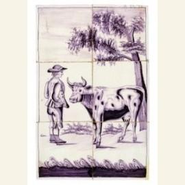 Zes tegels met boer en koe