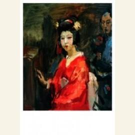 Japanse dame in rode