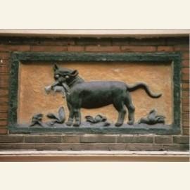 Gevelsteen met kat en muis - 17e eeuw