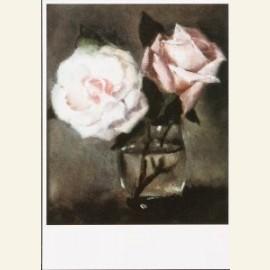 Stilleven met roze roosjes in helder glaasje