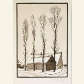Huizen in winterlandschap, 1920