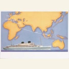 Willem Ruys met routekaartje Nederland Indonesie