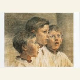 Drie zingende koorknapen