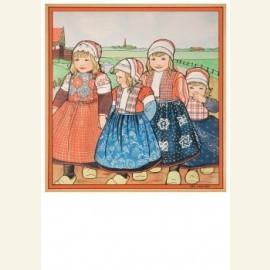 vier kinderen in Oud-Hollands klederdracht