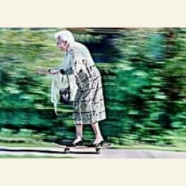 86 Years old Anne Wright on her skateboard