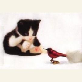 Stekie ziet vogel
