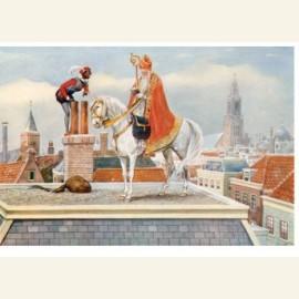 Sint en Piet op het dak, ca. 1930