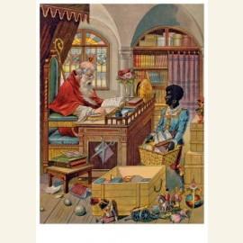 Sinterklaas thuis aan het werk, 19e eeuw