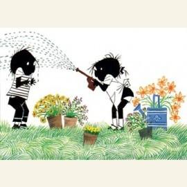 Jip en Janneke met tuinslang