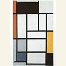 Compositie met rood, geel, grijs en blauw