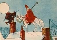 Anoniem - Sinterklaas met paard en zwarte piet op het dak sinterklaaskaart