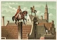 Jan Schenkman (1806-1863) - Sinterklaas met paard op het dak sinterklaaskaart